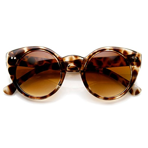 zeroUV - Modern Cateyes Vintage Inspired Circle Cat Eye Round Sunglasses w/ Metal Rivets (Light - Sunglasses Eye Circle Cat