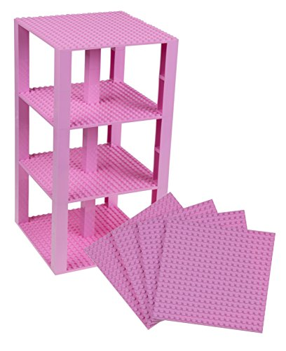 Strictly Briks Classic Baseplates 6 x 6 Brik Tower 100% Compatible with All Major Brands   Building Bricks for Towers and More   4 Light Pink Stackable Base Plates & 30 Stackers