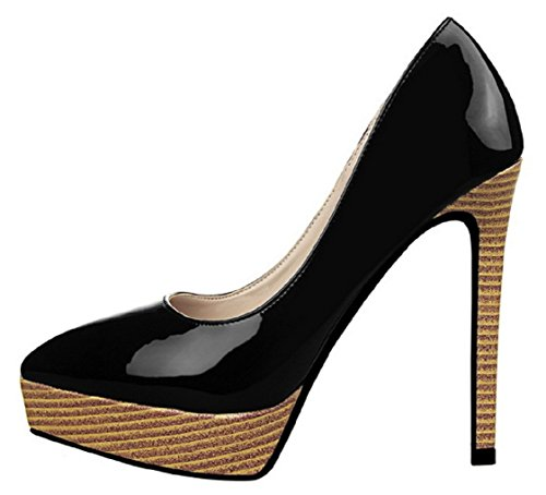 HooH Women's Wood Grain Platform Stiletto Pumps 9266-2 Black TA02x