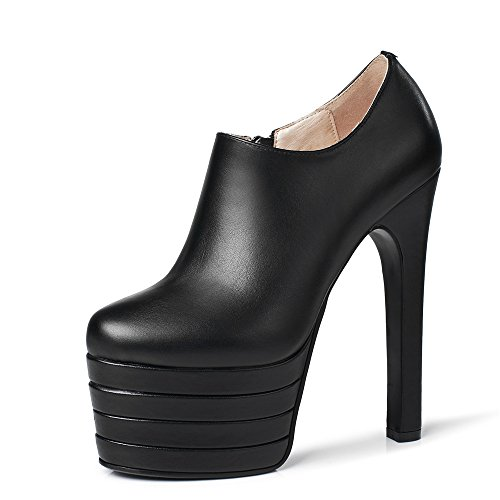 Leather Super Pump Black High Round Nine Seven Heel Shoes Zipper Women's smooth Style Handmade Toe High leather Genuine Platform Heel Sexy FaEwqwY