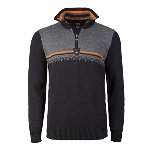 Dale of Norway Lahti Masculine Sweater, Dark Charcoal/Ora...