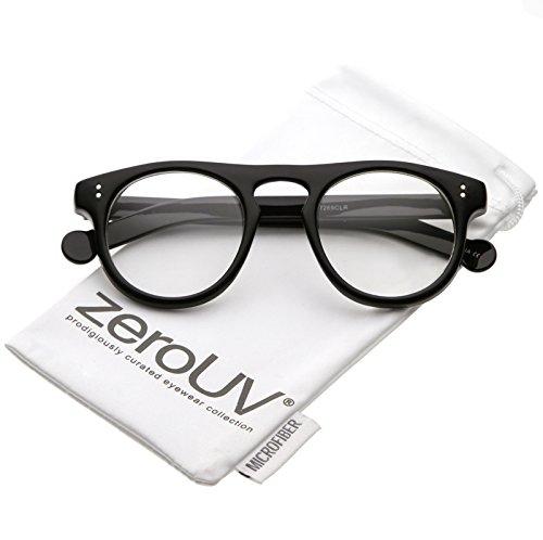 zeroUV - Classic Keyhole Nose Bridge Round Clear Lens Horn Rimmed Eye Glasses 47mm (Black / - Glasses Asos