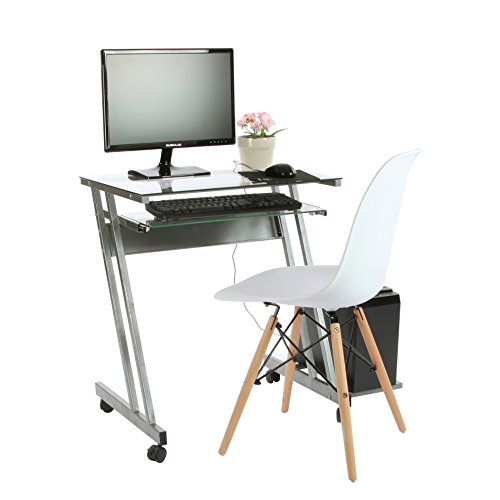 VECELO Mobile Glass Computer Desk With Pull-out Keyboard Tray