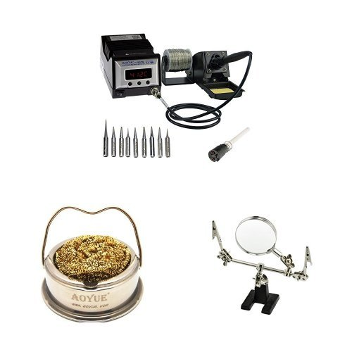 Aoyue 60 Watt Programmable Digital Soldering Station and Soldering Iron Tip Cleaner with Brass wire sponge and SE Helping Hand with Magnifying Glass