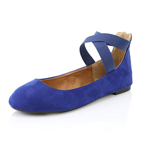 DailyShoes Women's Classic Flats Comfortable Criss Cross Elastic Band Round Flat Slip-On Loafer Sneaker Shoes-Ideal for Casual Occasions Walker-05 Royal Blue SV6.5 for $<!--$17.99-->
