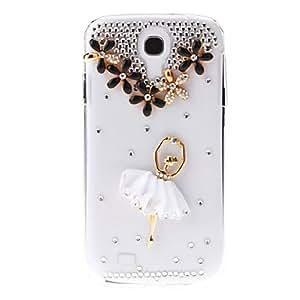 Conseguir Relieve Patrón Chica Ballet Caso duro de la contraportada transparente con pegamento para Samsung Galaxy S4 i9500 , Rosado