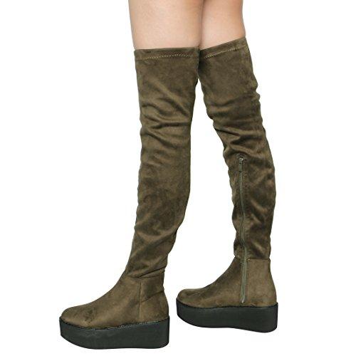 Beston EK07 Womens Stretchy Snug Fit Platform Wedge Over the Knee High Boots Olive 0AUB2WD