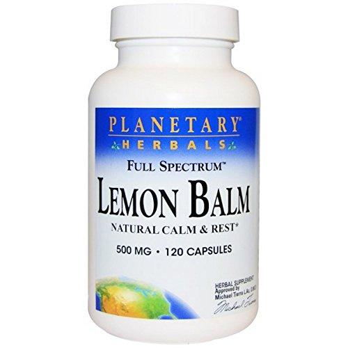 Planetary Herbals, Lemon Balm, Full Spectrum, 500 mg, 120 Capsules (Herbals Lemon Balm)