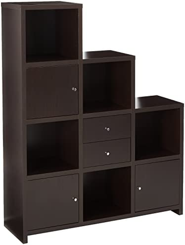 Coaster Home Furnishings Asymmetrical Bookcase with Cube Storage Compartments Cappuccino