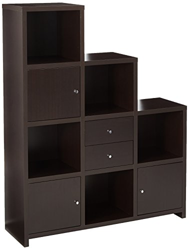 Coaster Contemporary Cappuccino Asymmetrical Bookcase with Cube Storage Compartments
