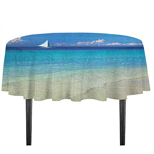 kangkaishi Nautical Waterproof Anti-Wrinkle no Pollution Exotic Tropic Beach in Philippines Island Horizon Summer Paradise Concept Outdoor Picnic D35.4 Inch Turquoise Cream