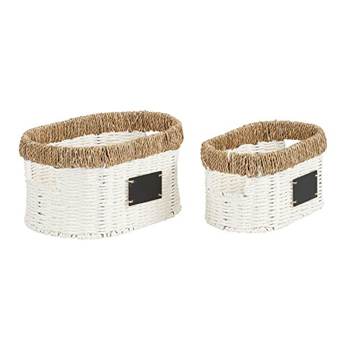 Household Essentials Natural Rim Wicker 2 Piece Paper Rope and Seagrass Set/Oval Baskets White