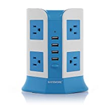 SAFEMORE 8-Outlet with 4 Smart USB Output Power Strip Power Bar(Blue and White)