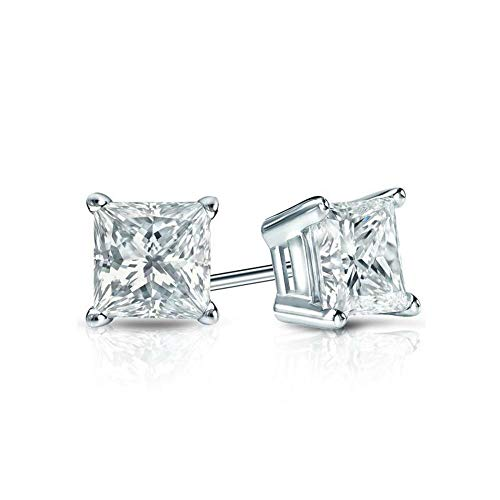 White Gold Diamond Solitaire Princess Cut 1.00 ct CZ Stud Earrings 14K(585) Hallmarked Screw Back, Color D, Clarity VVS