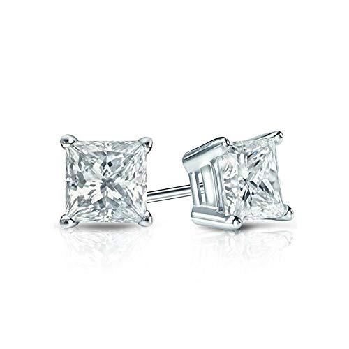 (White Gold Diamond Solitaire Princess Cut 1.00 ct CZ Stud Earrings 14K(585) Hallmarked Screw Back, Color D, Clarity VVS)