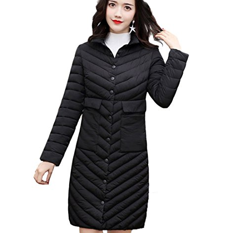 Overcoat Size Fit Coat Office Length Puffer Women Plus Quilted Knee Black Long Jacket Gaorui Casual Slim Fashion T4OSqwwnZ
