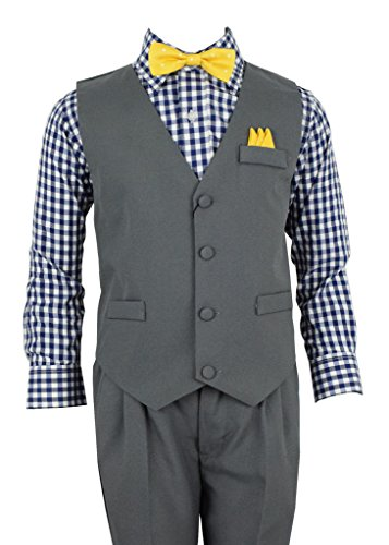 Vittorino Boys 4 Piece Suit Set with Vest Shirt Tie Pants and Hankerchief , Grey/Blue Checker , 3T - 4 Piece Suit Set