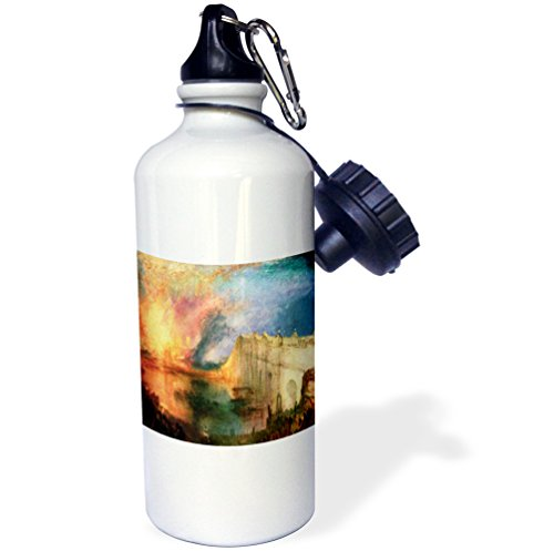 3dRose wb_100926_1 Picture of Painting Burning of Lord N House of Commons By Wiliam Turner Sports Water Bottle, 21 oz, White (House Of Commons And House Of Lords)