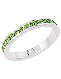 """Sterling Silver Stackable Eternity Band, August Birthstone, Peridot Crystals, 1/8"""" (3 mm) wide"""