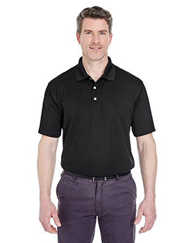 8445 UltraClub Men's Cool & Dry Stain-Release Performance Polo-Black-XXX-Large