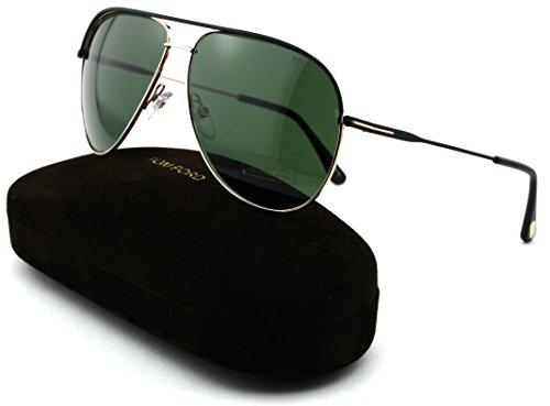 Tom Ford FT 0466 Erin Unisex Metal Aviator Sunglasses (Black Frame, Green Lens ()