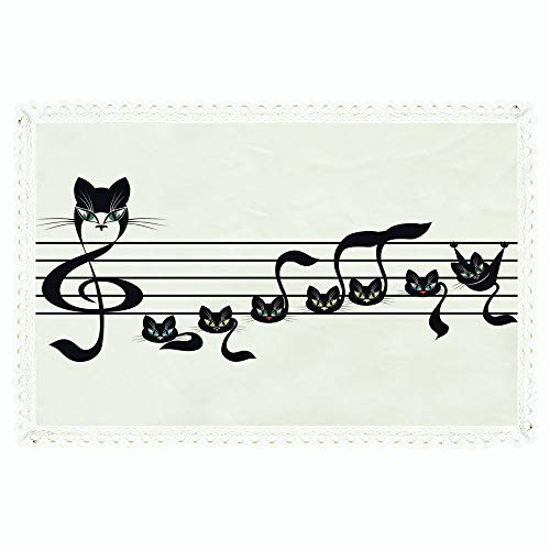 iPrint Music Decor,Rectangle Polyester Linen Tablecloth/Notes Kittens Kitty Cat Artwork Notation Tune Children Halloween Stylized/for Dinner Kitchen Home Décor,60