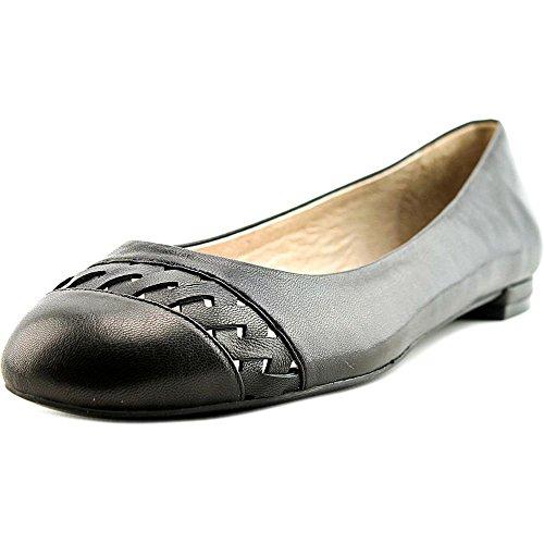 Nina Marley Women Round Toe Leather Black Flats, Black, S...