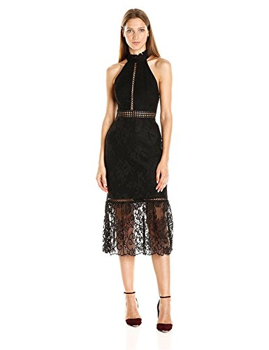 ABS Allen Schwartz Women's Detailed Halter Lace Dress with Mermaid Hem, Black, 0