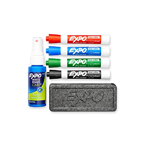 Expo Low Odor Dry Erase Marker Set with White Board Eraser and Cleaner | Chisel Tip Dry Erase Markers | Assorted Colors, 6-Piece Set with Whiteboard Cleaner