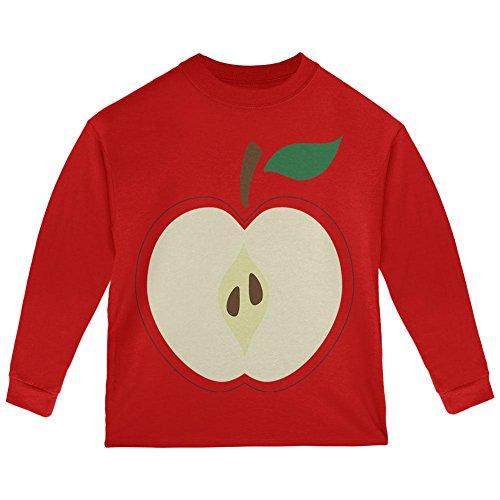 Halloween Apple Slice Costume Toddler Long Sleeve T Shirt Red 3T