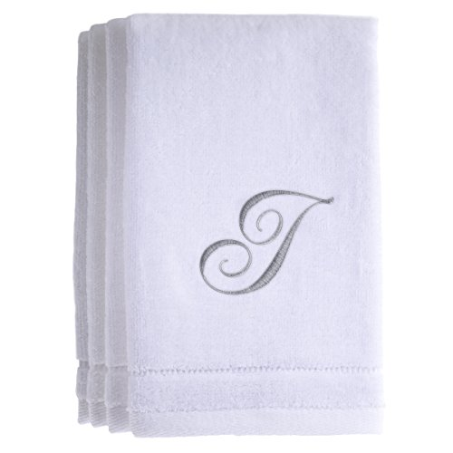 Monogrammed Towels Fingertip, Personalized Gift, 11 x 18 Inches - Set of 4- Silver Embroidered Towel - Extra Absorbent 100% Cotton- Soft Velour Finish - For Bathroom/ Kitchen/ Spa- Initial I (White) (Tan Canada Towels)