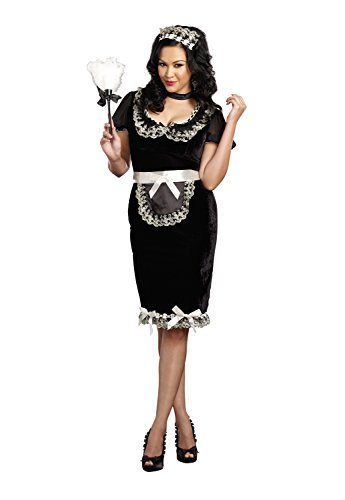 Keep It Clean Adult Costumes (Dreamgirl Women's Plus-Size Keep It Clean Maid Costume, Black, 1X/2X)