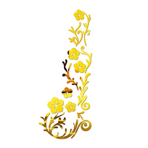 Wall Stickers Flowers Removable Flowers Wall Decals Decorative Peel & Stick Wall Art Sticker Decals for Living Room Kitchen (Gold) -
