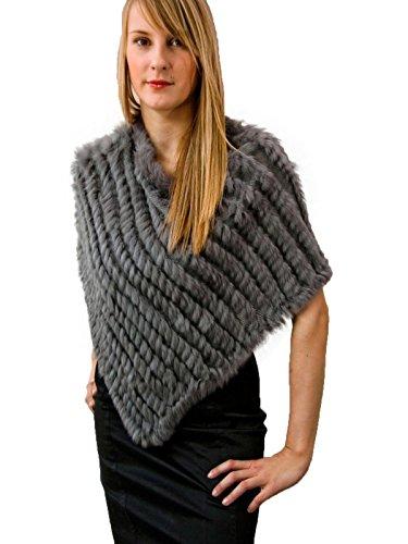 MEEFUR Women's Warm Shawls Real Knitted Rabbit Fur Ponchos Gray - Poncho Rabbit