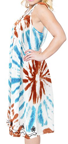 La Leela las mujeres vestido maxi tinte túnica lazo playa de Seda artificial se visten encubrir ocasional midi marrón