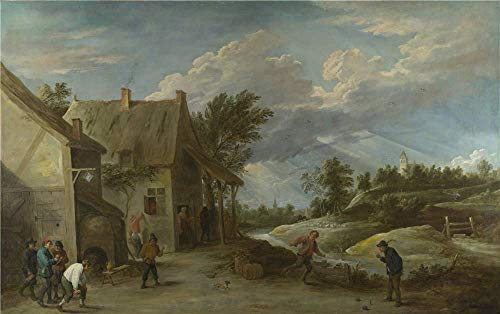 The Polyster Canvas Of Oil Painting 'David Teniers The Younger Peasants Playing Bowls Outside A Village Inn ' ,size: 10 X 16 Inch / 25 X 40 Cm ,this High Quality Art Decorative Canvas Prints Is Fit For Study Decor And Home Decoration And Gifts
