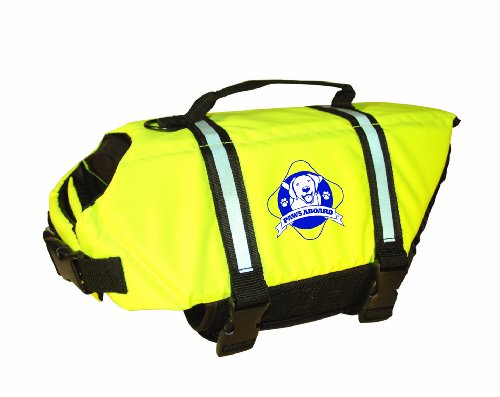 Paws Aboard Small Designer Doggy Life Jacket, Neon Yellow, My Pet Supplies