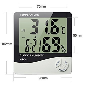 RB Mall Temperature Humidity Time Display Meter with Alarm Clock