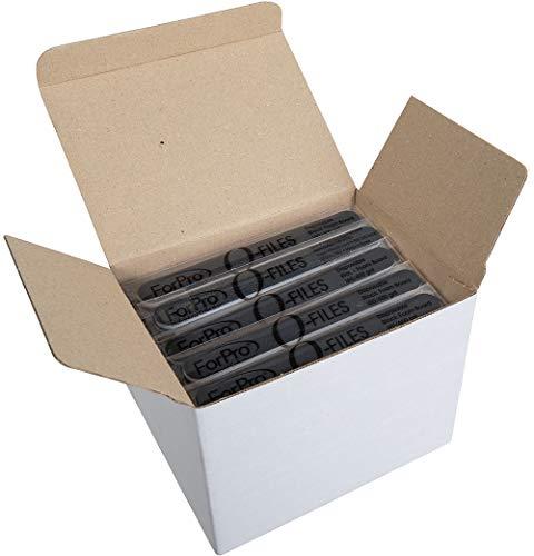ForPro O-Files Foam Board, 180/400 Grit, Black, Double-Sided Manicure Nail File, 6