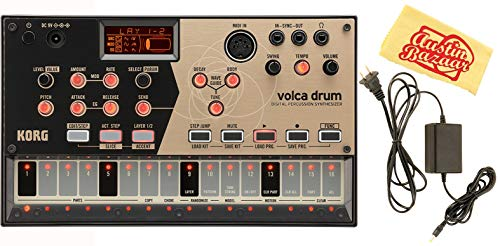 Korg Volca Drum Digital Percussion Synthesizer Bundle with Power Supply and Austin Bazaar Polishing Cloth
