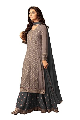 (ziya Indian/Pakistani Ethnic wear Georgette Plaazo Salwar Kameez (Grey, L-42))