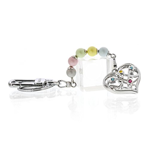 - Elegant crystal and pearl two-sided heart key chain embellished with Swarovski crystals. Interchangeable and can be a necklace, bracelet and more. Hook for handbag or belt loop. 6