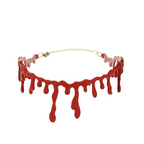 Botrong Halloween Party Dress Ball Punk Rock Blood Red Stitch Choker Necklace