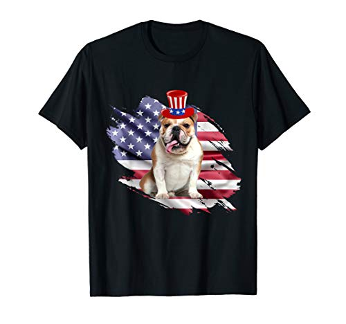 - Patriotic Bulldog 4th July Shirt, American Flag Shirt