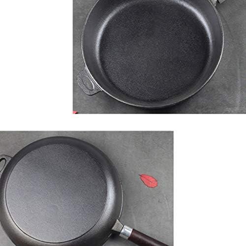 CJTMY Fonte Pan - Noir antiadhésive Poêle, for la Cuisine, ustensiles de Cuisson avec poignée Simple en Bois