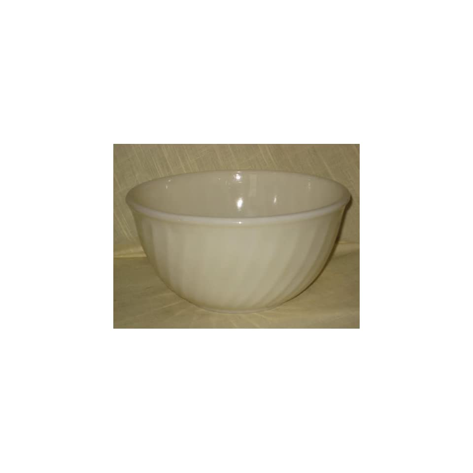 Large Vintage Fire King White Swirl Mixing Batter Bowl   6 x 5 1/2 Inches