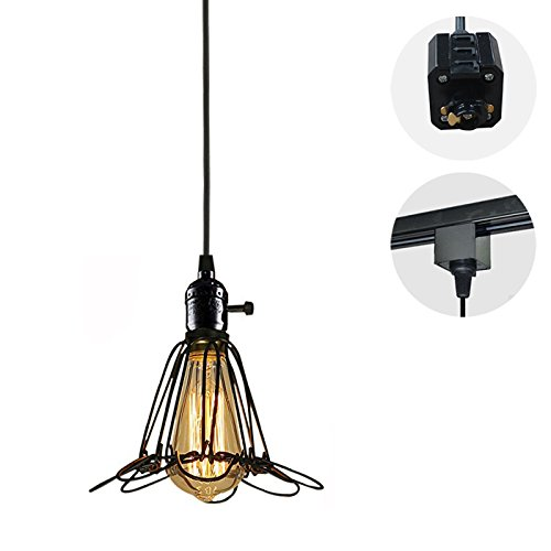 STGLIGHTING 1-Light H-Type Track Light Pendants 4.9 Feet Cord Iron Birdcage Lampshade Restaurant Chandelier Decorative Chandelier Industrial Factory Pendant Lamp Bulb Not Included by STGLIGHTING (Image #7)