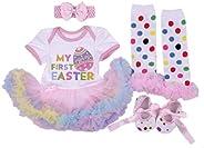Amberetech Newborn Baby Girl Easter Dress My First Easter Outfit Easter Eggs Romper Bodysuit Tutu Skirt Set