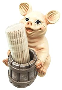 Country Farmland Barnyard Piggy Piglet Toothpick Holder Figurine With Toothpicks Excellent Gift For Farmers Barn Animal Lovers Cute Home Kitchen Decor