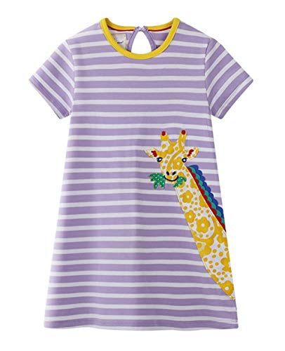 Eocom Little Girls Soft Summer Cotton Short Sleeve Dresses T-Shirt Casual Cartoon Dress (Giraffe, 3T)